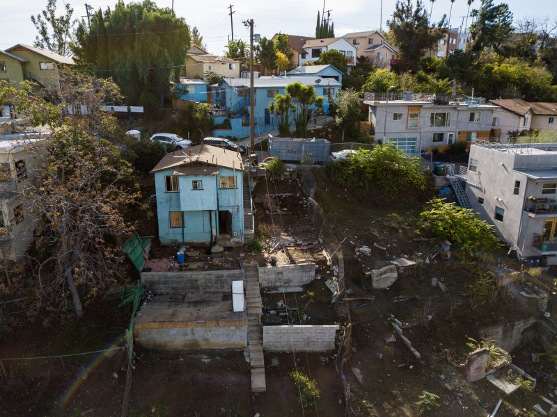 OVERHEAD VIEW OF 4217 HOUSE AND 4215 VACANT LOT